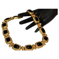 Glam Bold Runway ETRUSCAN BYZANTINE FRENCH COUTURE Black Enamel Link Gold Tone Choker Necklace