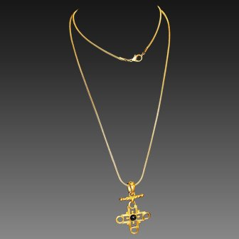 Delightful Splendid Matte Gold Plate Byzantine Maltese Cross Long Chain Necklace