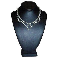 Vintage Art Deco Bezel Set Rock Crystal Open Back Rhodium Plate Necklace