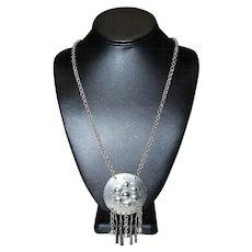 Vintage 800 Silver Embossed Hammered Flowered Etched Dangling Necklace