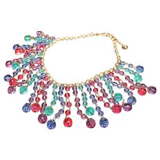 NAPIER Designer Haute Couture Runway Bold Lucite Dangling Colar Multicolor Necklace