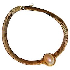 Fabulous Signed CHRISTAN DIOR Mabe Faux Pearl Omega Gold Tone Collar Necklace