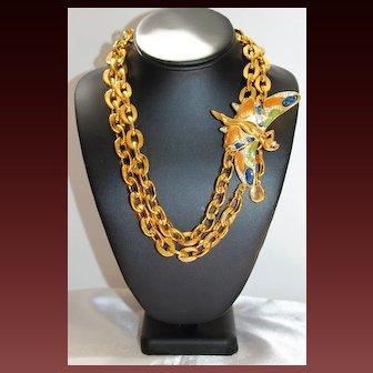 Phenomenal Signed ESSEX Gold Tone Butterfly Enamel Long Belt Necklace
