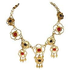 Lavish Splendid Signed CRAFT Gripoix Poured Glass Etruscan Necklace