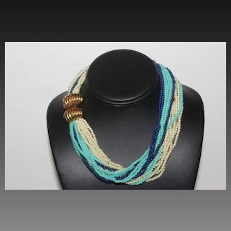 Gay boyer Signed Fabulous Gold Plate Fancy Clasp Torsade Necklace