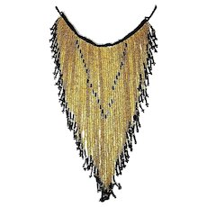 Vintage Art Deco Amber Seed Bead Glass Tassel Waterfall Exquisite Necklace
