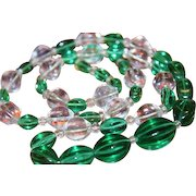 Antique Art Deco Chinese Peking Glass Melon Shape Green Crystal Necklace