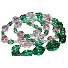 VTG Art Deco Chinese Peking Glass Melon Shape Green Crystal Necklace