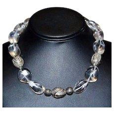 Vintage Sterling Silver Rock Quartz Crystal Polished Bead Choker Necklace