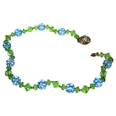 Vintage Art Deco Exquisite Ornate Clasp Blue Green Glass Beads Choker Necklace