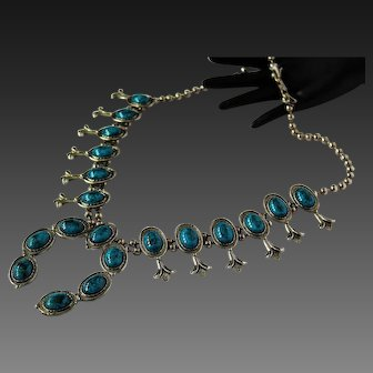 Handsome Fascinating Faux Torquoise Glass Squash Blossom Massive Outstanding Necklace