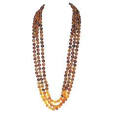 VTG Designer Haute Couture Runway Bold Faux Tortoise Amber Multi Strand Retro 80s Necklace