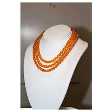 Vintage High End Designer Couture Poured Glass Amber Triple Strand Textured Necklace