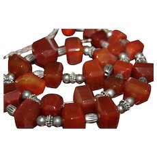Massive STERLING Silver STUDIO ARTISAN CARNELIAN Geometric Beads Long Graduating Necklace NS3