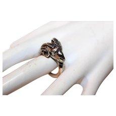 Rare Unique Antique Sterling Silver Aries Horoscope Ram Head Ring