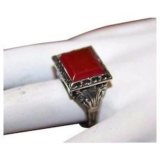 Antique Asian Carnelian Chinese Export Oriental Sterling Silver Ring Sz 6