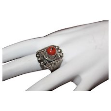 Antique Sterling Silver Yemenite Bedouin Angel Skin Exceptional Ornate Coral Ring