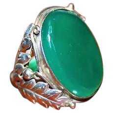 Antique Arts & Crafts Sterling Silver Chrysoprase Cabochon Germany Ring