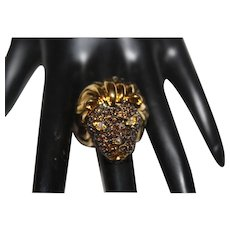 NOIR NWT Encrusted Swarovski Crystals Lion Head Statement Ring