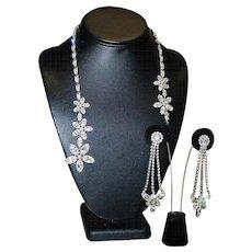 "NAPIER Designer High End Runway Bold Rhinestone Long 3"" Exquisite Necklace Earrings Set"