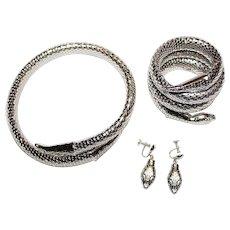 WHITING DAVIS Signed Mesh Silver Tone Snake Necklace Bracelet Earring Set