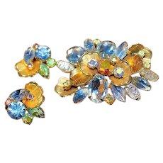 JULIANA Designer High End Heliotrope Rivoli Rhinestone Brooch Earrings Set