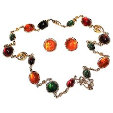 YVES SAINT LAURENT YSL Designer Couture Runway Massive French Poured Glass Necklace Earring Set
