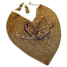 Captivating Sensational Rich SIGNED WHITING DAVIS Gold Tone Mesh High End Designer Iconic Necklace Earring Set