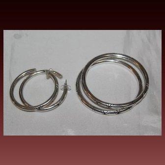 Taxco Mexico Marked TM-153925 Sterling Silver Wonderful Bracelet Earrings Set