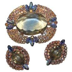 Vintage Large Citrine Glass AB Crystal Glass Brooch Earrings Set