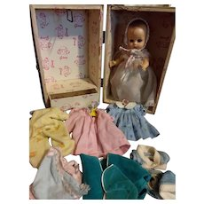 Vintage Ginny baby with trunk and clothes