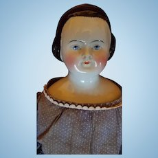 Large 1850's Alice China Head by Kestner with snood