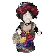 Artist cloth doll of eccentric old lady
