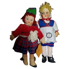 Molly'es Scotland doll and a cloth Switzerland doll