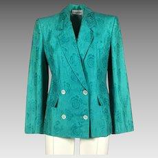 1980's Calvin Klein Turquoise Cotton Damask Blazer