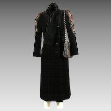 1980's Koos Van Den Akker Couture Black Velvet Evening Coat and Patchwork Bag, size 6