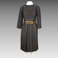 1960's Louis Feraud Charcoal Grey Wool Dress with Stitched Detailing and Pleated Skirt