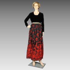 1970's Black and Red Floral Maxi Dress / Hostess Gown