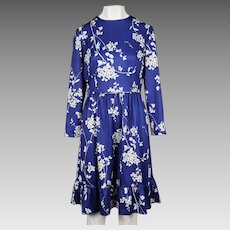 1960's Emilio Borghese Blue and White Flower Print Dress