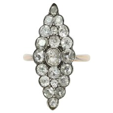 Victorian Ladies Navette Style Ring Diamonds 14K Yellow Gold and Silver