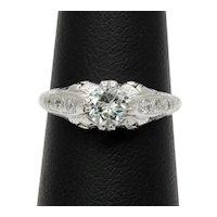 Art Deco Platinum 0.64 Carat Diamond Engagement Ring