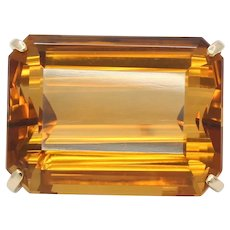 Vintage Huge Beautiful Statement Emerald Cut Citrine Brooch Pin