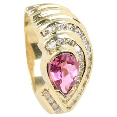 Vintage 14K Yellow Gold Pink Sapphire and Diamond Ring