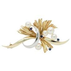 Vintage Mikimoto Pearl Sapphire Brooch