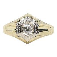 Art Deco Diamond 14K Yellow Gold Engagement Ring
