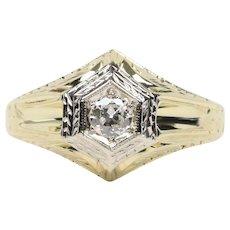 Art Deco Diamond 14K Yellow Gold Engagement Ring