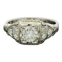 Art Deco Ladies Diamonds Platinum Ring