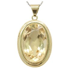 Vintage Large Citrine 14K Yellow Gold Pendant