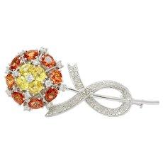 Vintage 18K White Gold Yellow Orange Sapphires Diamonds Brooch Pin