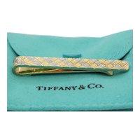 Vintage Tiffany and Co. Diagonally Checkered 18K Yellow White Gold Money Clip
